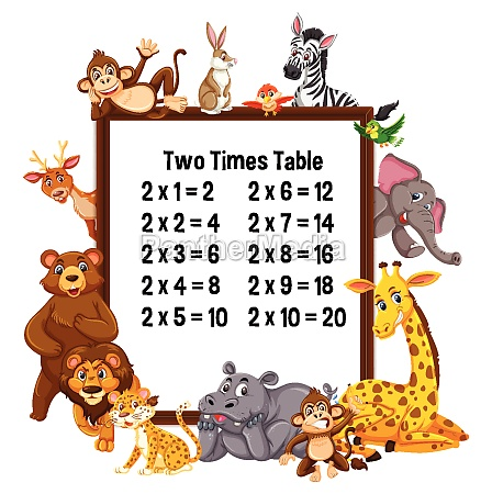 two times table with wild animals