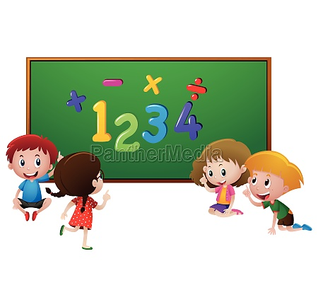 numbers and kids at school