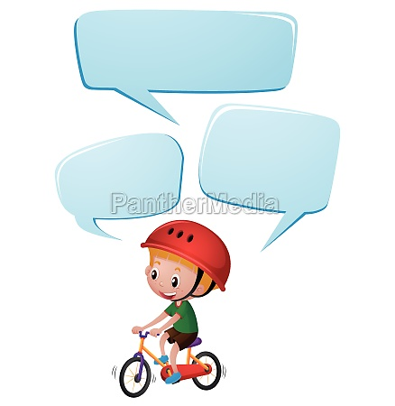 speech bubble template with boy on