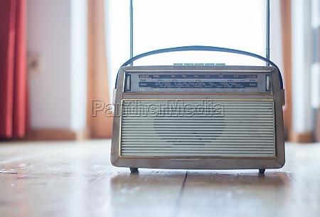 vintage radio on the floor wood