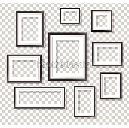 picture frames on transparent background