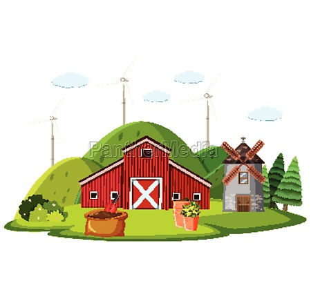 farm scene with red barn and