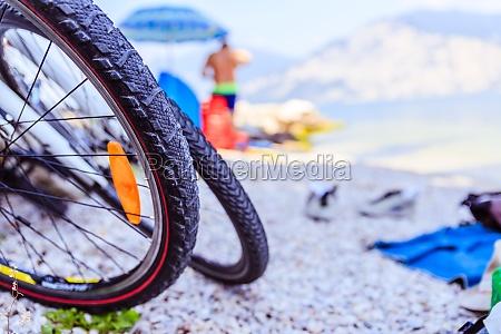 mountain bike on the beach close