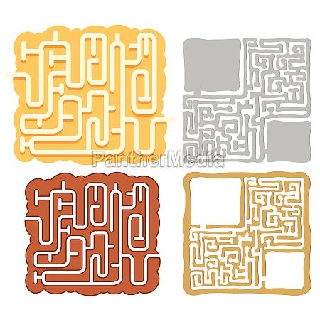 a set of maze puzzle games