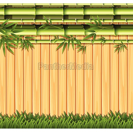 bamboo and wooden fence concept