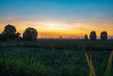 sunset orange countryside fields 2