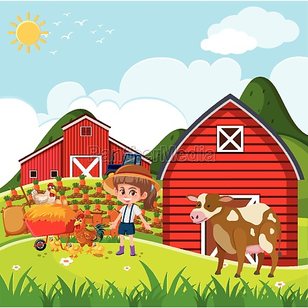 farm scene with girl and chickens