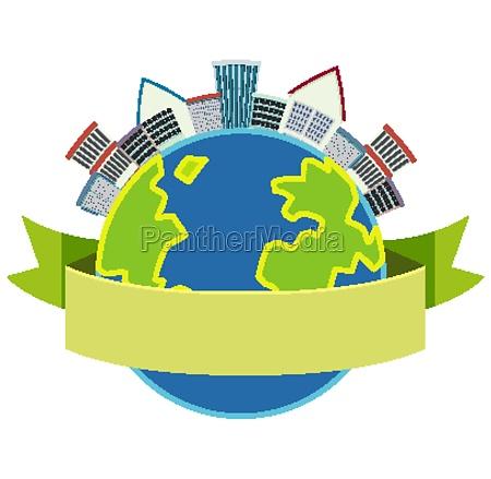 round globe banner isolated