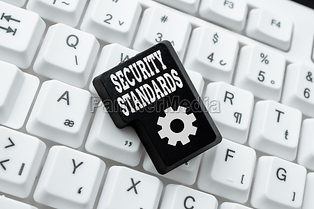 text caption presenting security standards word