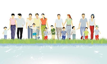 families parents and children groups of