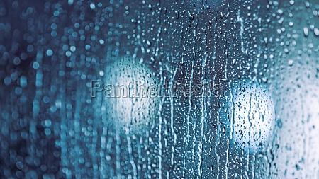 rain drops on the window rainy