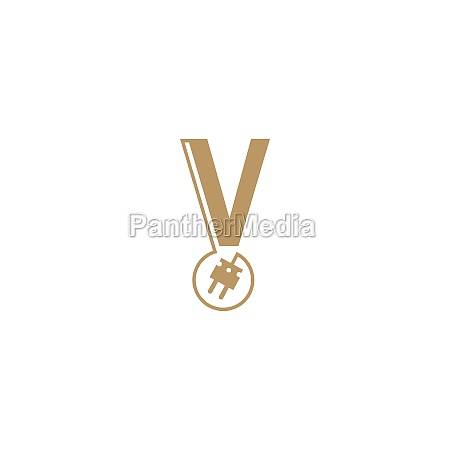 power cable forming letter v logo