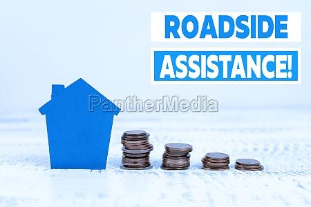 sign displaying roadside assistance internet concept