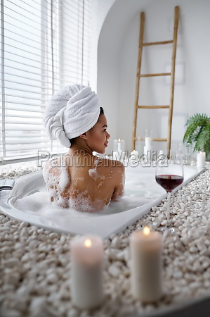 seductive woman relax in a bubble