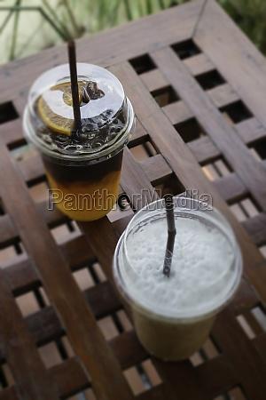 iced americano coffee with fresh orange