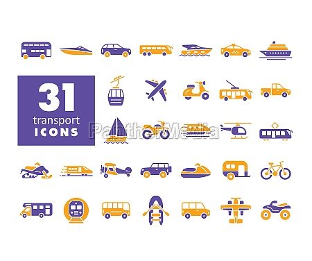 transportation vector flat glyph icon set
