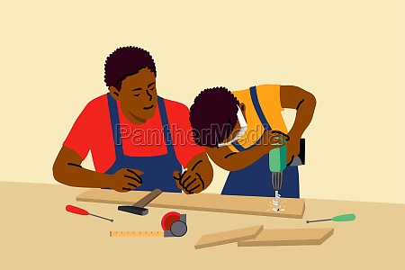 fatherhood childhood work education help concept