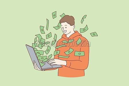 making money in internet concept