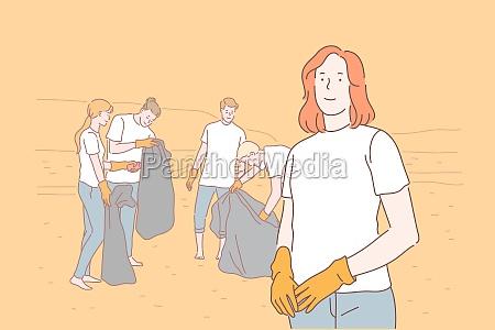 volunteering eco environment pollution concept