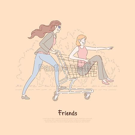 happy friends having fun women ride