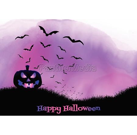 halloween background on watercolour texture