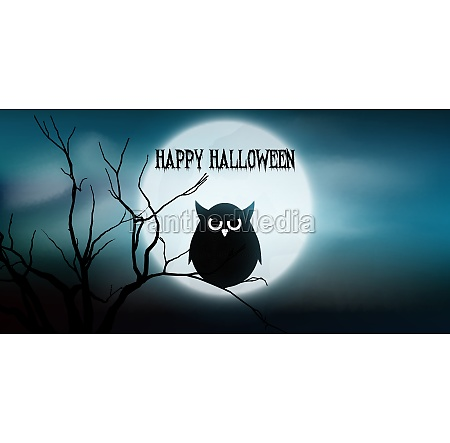halloween banner with owl and tree