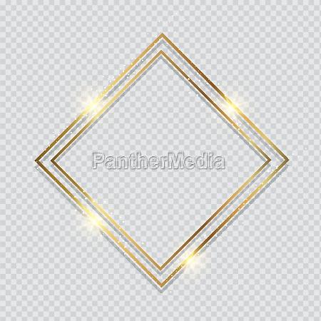 metallic gold frame on a transparent