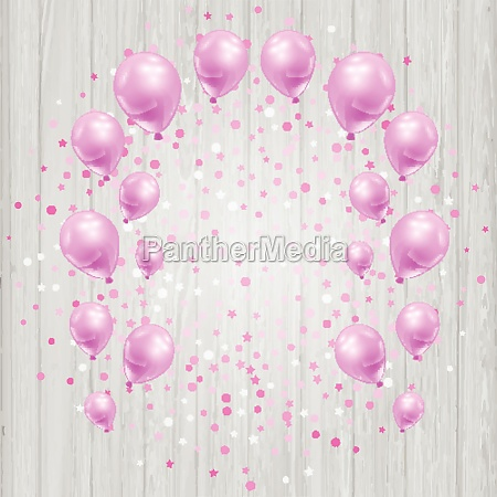 celebration background with pink balloons and