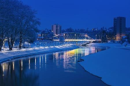 poland subcarpathia rzeszow illuminated bridge at