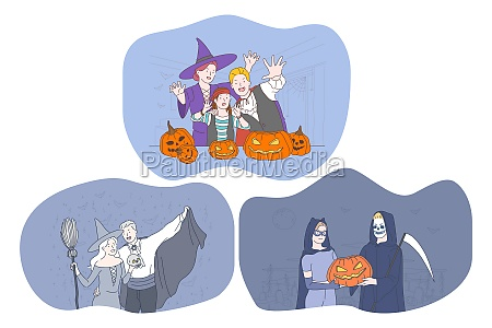 celebrating halloween holiday in spooky costumes