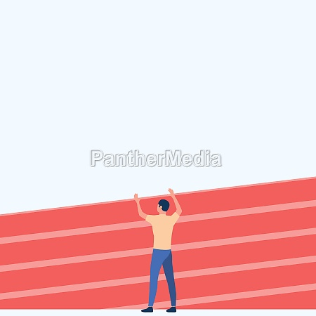 athletic man drawing standing on track