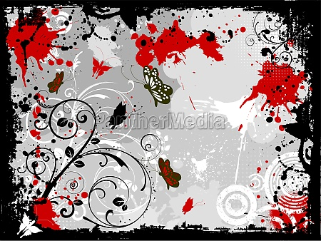 decorative floral grunge with butterflies