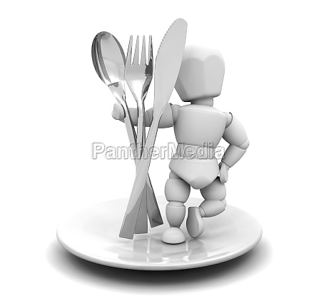 person with cutlery