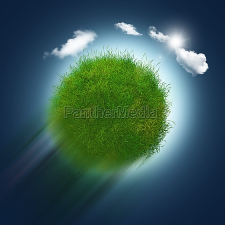 3d grassy globe zooming through the