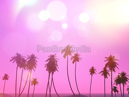 3d palm trees landscape with a