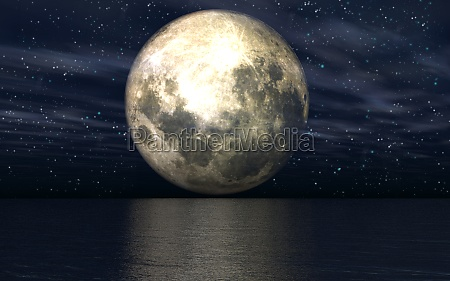 3d background with moon over sea