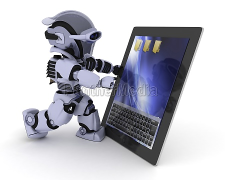 robot with a digital tablet