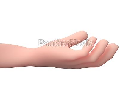 grabbing hand gesture 3d cartoon character