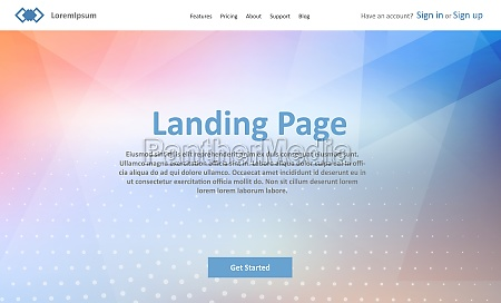 landing page website template with abstract