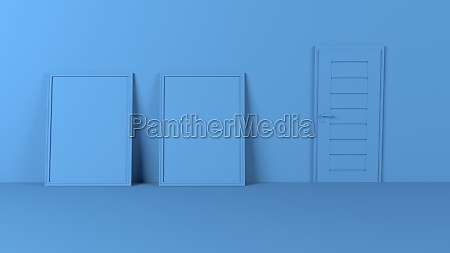 3d blank picture frames on empty