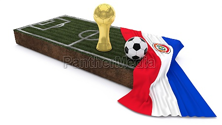 3d soccer ball and trophy on