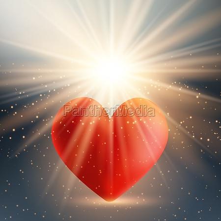 valentines day heart on starburst background