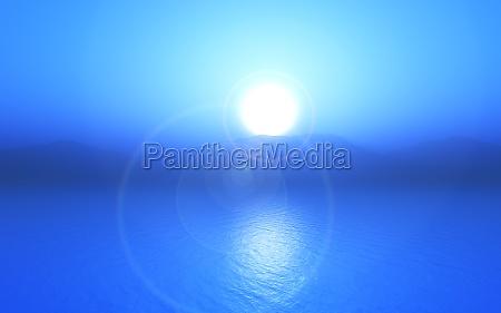 3d blue sunset ocean landscape