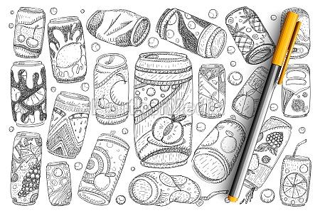 jars with drinks doodle set