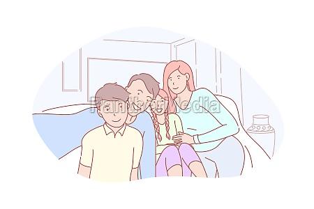family parenthood childhood selfie concept