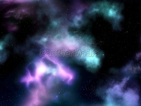 3d space sky with nebula and