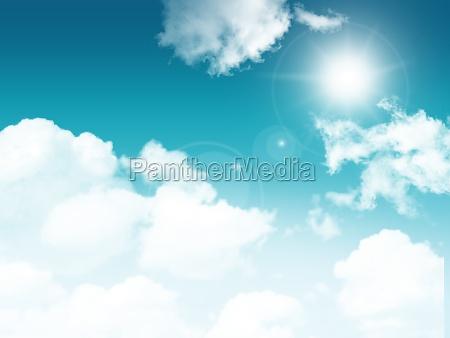 3d sunny blue sky with fluffy