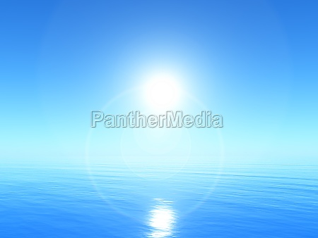 3d tranquil ocean landscape with bright