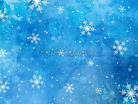 christmas snowflakes on watercolour background