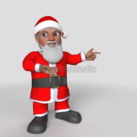 3d cartoon santa claus character